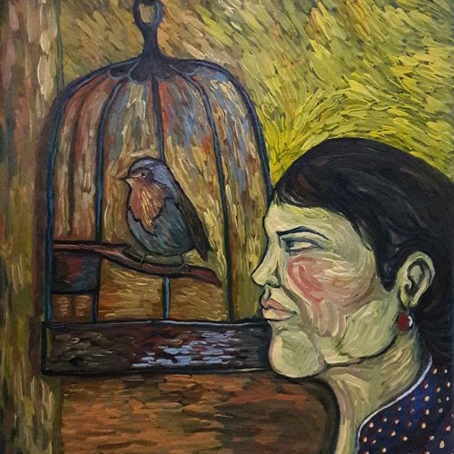 woman and bird, 18 x 23 inch, rambling tiger,impressionist paintings,paintings for dining room,canvas,oil paint,18x23inch,GAL08864467