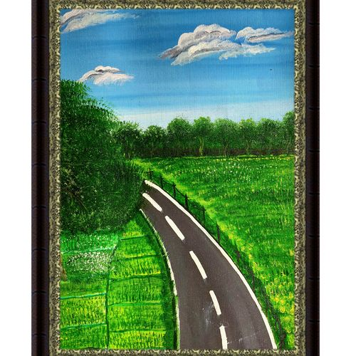 highway  passing through field, 14 x 10 inch, rashmi rani,14x10inch,paper,paintings,landscape paintings,nature paintings | scenery paintings,paintings for dining room,paintings for living room,paintings for bedroom,paintings for office,oil color,paper,GAL03163544671