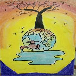 save water, 8 x 12 inch, ruchi  singh ,8x12inch,cartridge paper,paintings,pencil color,watercolor,GAL03069844676