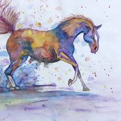 horse painting, 14 x 11 inch, dr.foram panchal,14x11inch,drawing paper,paintings,animal paintings,horse paintings,paintings for dining room,paintings for living room,paintings for office,paintings for kids room,paintings for hotel,paintings for school,paintings for hospital,pen color,poster color,watercolor,paper,GAL03170544681