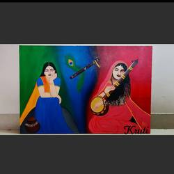 devote of lord krishna, 24 x 36 inch, kruti haria,24x36inch,canvas,conceptual paintings,religious paintings,expressionism paintings,realism paintings,acrylic color,GAL03194144691