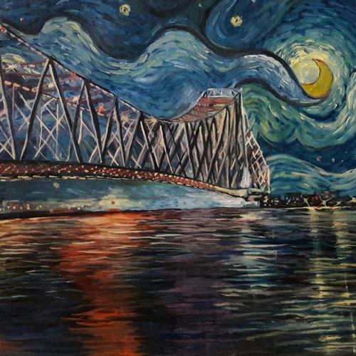 kolkata starry nights, 24 x 18 inch, rambling tiger,impressionist paintings,paintings for living room,canvas,oil paint,24x18inch,GAL08864470
