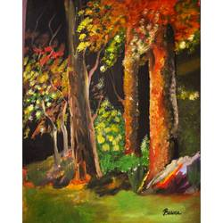 in to the woods , 12 x 16 inch, basma satheesh,12x16inch,oil sheet,nature paintings | scenery paintings,oil color,GAL03192744704