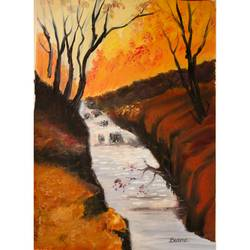 fire in the forest , 12 x 16 inch, basma satheesh,12x16inch,oil sheet,paintings,nature paintings | scenery paintings,oil color,GAL03192744705