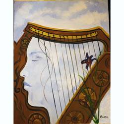 the melody in her head, 12 x 16 inch, basma satheesh,12x16inch,oil sheet,paintings,surrealism paintings,oil color,GAL03192744706