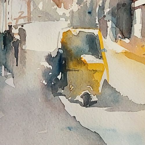 mysore street , 10 x 13 inch, sirish  mosale,10x13inch,arches paper,paintings,cityscape paintings,impressionist paintings,paintings for living room,paintings for office,paintings for hotel,paintings for living room,paintings for office,paintings for hotel,watercolor,paper,GAL03195344720