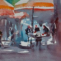 sunday morning , 12 x 8 inch, sirish  mosale,12x8inch,arches paper,paintings,cityscape paintings,impressionist paintings,paintings for dining room,paintings for living room,paintings for hotel,watercolor,paper,GAL03195344723