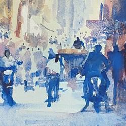 busy street in mysore , 10 x 13 inch, sirish  mosale,10x13inch,arches paper,cityscape paintings,impressionist paintings,paintings for dining room,paintings for living room,paintings for office,paintings for hotel,paintings for dining room,paintings for living room,paintings for office,paintings for hotel,watercolor,paper,GAL03195344725