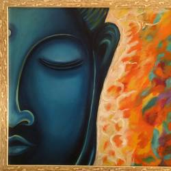 world of peace, 25 x 19 inch, mamta sanwal,25x19inch,canvas,paintings,buddha paintings,paintings for living room,paintings for hotel,paintings for school,oil color,GAL02869544727
