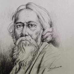 famous rabindranath tagore, 11 x 14 inch, krishna  mondal ,11x14inch,paper,drawings,fine art drawings,photorealism drawings,portrait drawings,paintings for dining room,paintings for living room,paintings for bedroom,paintings for office,paintings for bathroom,paintings for kids room,paintings for hotel,paintings for kitchen,paintings for school,paintings for hospital,pencil color,GAL03095444735