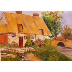 country side house , 12 x 16 inch, basma satheesh,12x16inch,oil sheet,folk art paintings,oil color,GAL03192744738