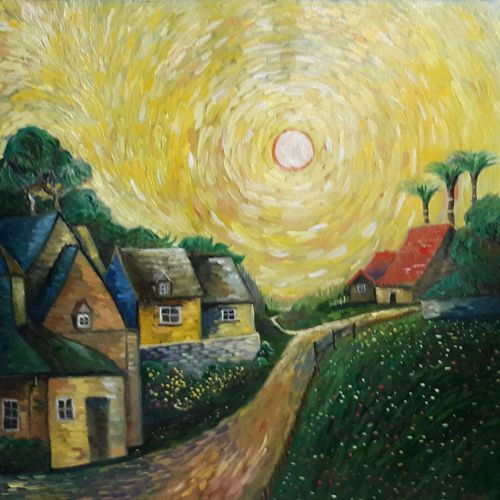 village houses, 25 x 24 inch, rambling tiger,impressionist paintings,paintings for living room,canvas,oil paint,25x24inch,GAL08864475