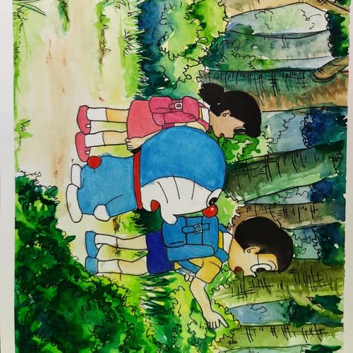 a cartoon scene doremon, 8 x 12 inch, mohit bhardwaj,8x12inch,paper,paintings,figurative paintings,children paintings,paintings for living room,paintings for bedroom,paintings for kids room,paintings for hotel,paintings for school,watercolor,GAL03193144750