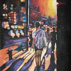 street painting, 12 x 14 inch, bitan chakrabarty,12x14inch,canvas,paintings,abstract paintings,cityscape paintings,art deco paintings,street art,paintings for dining room,paintings for living room,paintings for bedroom,paintings for office,paintings for kids room,paintings for hotel,acrylic color,GAL03199244755