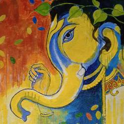 the lord ganesha, 14 x 11 inch, abhik mahanti,14x11inch,canvas,paintings,figurative paintings,religious paintings,acrylic color,GAL0404444759