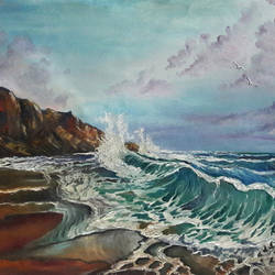 seashore , 31 x 20 inch, rambling tiger,landscape paintings,paintings for living room,nature paintings,canvas,oil paint,31x20inch,GAL08864476Nature,environment,Beauty,scenery,greenery
