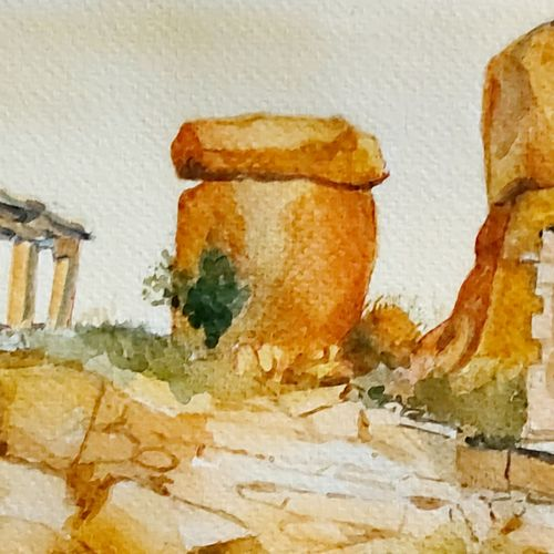hampi, 12 x 8 inch, sirish  mosale,12x8inch,handmade paper,paintings,landscape paintings,impressionist paintings,paintings for dining room,paintings for living room,paintings for office,paintings for hotel,paintings for hospital,watercolor,paper,GAL03195344764