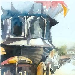 rath road sringeri, 10 x 13 inch, sirish  mosale,10x13inch,arches paper,paintings,cityscape paintings,impressionist paintings,paintings for living room,paintings for hotel,paintings for hospital,watercolor,paper,GAL03195344765