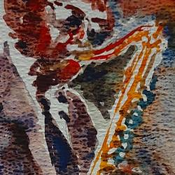 the saxophonist , 12 x 8 inch, sirish  mosale,12x8inch,handmade paper,paintings,figurative paintings,portrait paintings,impressionist paintings,paintings for living room,paintings for office,paintings for hotel,watercolor,paper,GAL03195344766