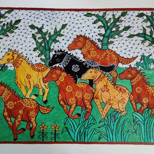 seven horses, 12 x 16 inch, madhavi jha,12x16inch,canvas,paintings,wildlife paintings,folk art paintings,nature paintings | scenery paintings,art deco paintings,animal paintings,horse paintings,madhubani paintings | madhubani art,paintings for dining room,paintings for living room,paintings for bedroom,paintings for office,paintings for bathroom,paintings for kids room,paintings for hotel,paintings for kitchen,paintings for school,paintings for hospital,acrylic color,pen color,GAL02713244767