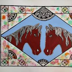 two horses in love friends, 16 x 12 inch, madhavi jha,16x12inch,canvas,paintings,wildlife paintings,folk art paintings,nature paintings | scenery paintings,animal paintings,contemporary paintings,horse paintings,madhubani paintings | madhubani art,paintings for dining room,paintings for living room,paintings for bedroom,paintings for office,paintings for bathroom,paintings for kids room,paintings for hotel,paintings for kitchen,paintings for school,paintings for hospital,acrylic color,GAL02713244768