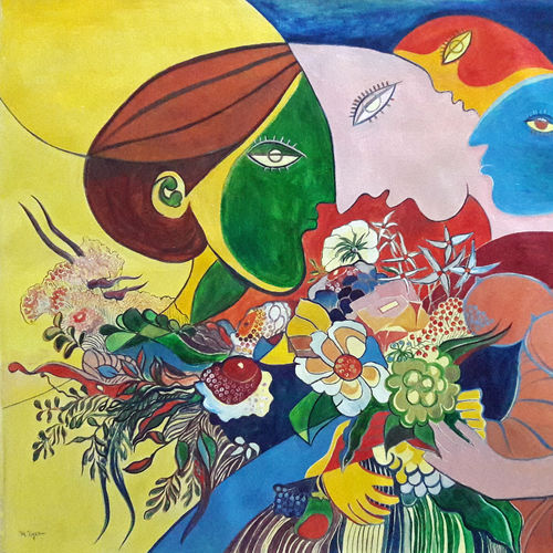 flower girls, 27 x 22 inch, rambling tiger,cubist paintings,paintings for office,canvas,oil paint,27x22inch,GAL08864477