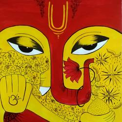 deity of success, 13 x 18 inch, susmita mukherjee,13x18inch,cartridge paper,paintings,abstract paintings,art deco paintings,paintings for dining room,paintings for living room,paintings for office,paintings for kids room,paintings for kitchen,acrylic color,pen color,GAL03179744776