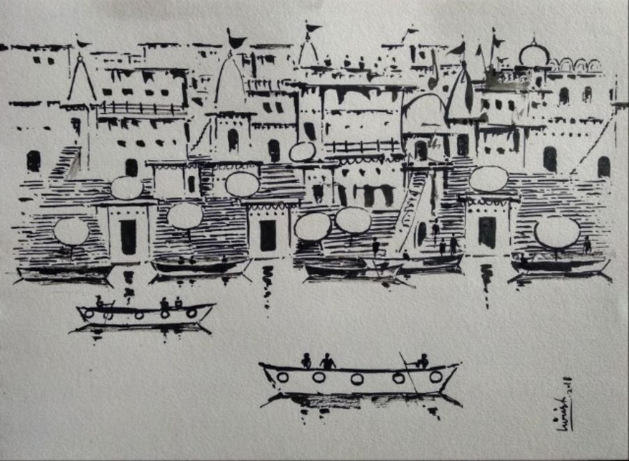 varanasi ghat  - black ink, 11 x 8 inch, girish chandra vidyaratna,figurative paintings,paintings for dining room,drawings,figurative drawings,fine art drawings,modern drawings,paintings for living room,paintings for bedroom,paper,ink color,11x8inch,GAL0364478