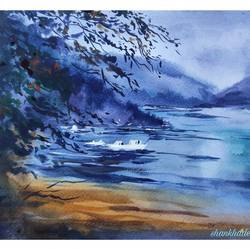 the lake, 12 x 8 inch, shankhadeep  mondal,12x8inch,brustro watercolor paper,paintings,landscape paintings,paintings for dining room,paintings for living room,paintings for bedroom,paintings for office,paintings for kids room,paintings for hotel,paintings for kitchen,paintings for school,paintings for hospital,watercolor,GAL01403044789