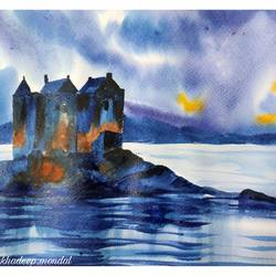 castel in scotland, 12 x 8 inch, shankhadeep  mondal,12x8inch,brustro watercolor paper,paintings,landscape paintings,conceptual paintings,paintings for dining room,paintings for living room,paintings for bedroom,paintings for office,paintings for kids room,paintings for hotel,paintings for kitchen,paintings for school,paintings for hospital,watercolor,GAL01403044791