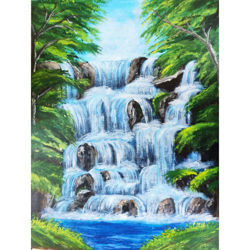 waterfalls, 18 x 24 inch, kruthi rajesh  vembar ,18x24inch,canvas,paintings,landscape paintings,nature paintings   scenery paintings,paintings for dining room,paintings for living room,paintings for bedroom,paintings for office,paintings for bathroom,paintings for kids room,paintings for hotel,paintings for kitchen,paintings for school,paintings for hospital,paintings for dining room,paintings for living room,paintings for bedroom,paintings for office,paintings for bathroom,paintings for kids room,paintings for hotel,paintings for kitchen,paintings for school,paintings for hospital,acrylic color,GAL03197344792