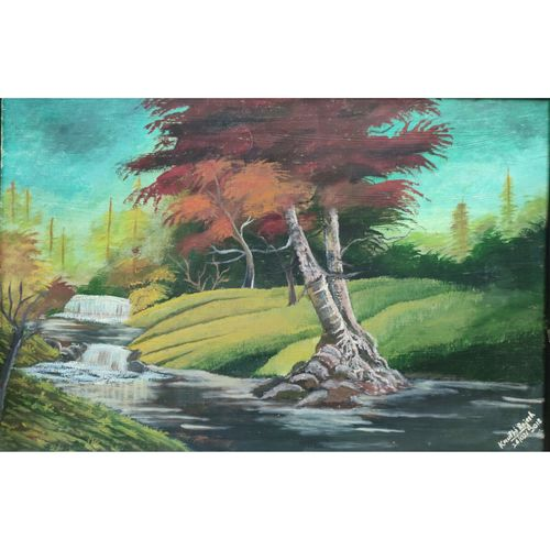 scarlet lake, 16 x 24 inch, kruthi rajesh  vembar ,16x24inch,wood board,paintings,landscape paintings,nature paintings | scenery paintings,paintings for dining room,paintings for living room,paintings for bedroom,paintings for office,paintings for bathroom,paintings for kids room,paintings for hotel,paintings for kitchen,paintings for school,paintings for hospital,oil color,GAL03197344798