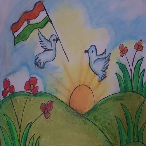 beauty of independence, 12 x 10 inch, yash bhavsar,12x10inch,paper,drawings,kids drawings,paintings for living room,paintings for office,paintings for kids room,paintings for school,pastel color,paper,GAL03202744800