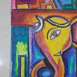 abstract ganesha, 10 x 14 inch, richa  sinha,10x14inch,ivory sheet,paintings,abstract paintings,paintings for living room,paintings for bedroom,paintings for kids room,pastel color,paper,GAL02747844802