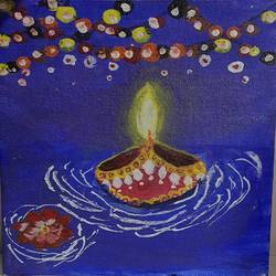 diwali lights, 9 x 11 inch, yash bhavsar,9x11inch,canvas,paintings,art deco paintings,paintings for living room,paintings for office,paintings for kids room,paintings for hotel,paintings for school,acrylic color,fabric,GAL03202744803