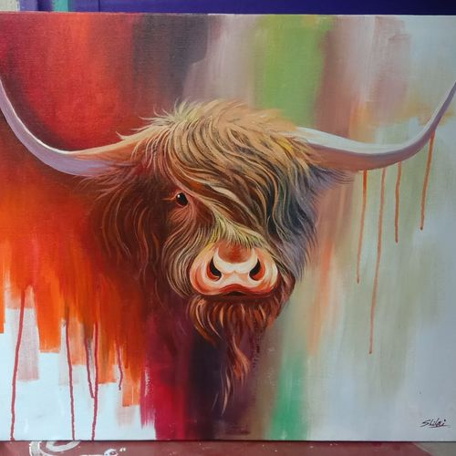 bull head, 24 x 30 inch, homemaker gallery,24x30inch,canvas,paintings,wildlife paintings,paintings for living room,paintings for hotel,acrylic color,fabric,GAL03203644829