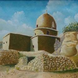 old mosque in ghofi, batna, algeria, 16 x 11 inch, mohamed djebbari,realistic paintings,paintings for living room,canvas,oil,16x11inch,GAL015774484