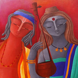 music of love, 20 x 30 inch, debaditya sarkar,modern art paintings,paintings for bedroom,canvas,acrylic color,20x30inch,GAL03964485