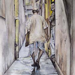 the introspective trudge, 11 x 11 inch, jayati banerji,11x11inch,drawing paper,figurative paintings,cityscape paintings,photorealism paintings,pen color,watercolor,graphite pencil,GAL03093644853