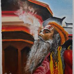 kumbh scene wall painting , 16 x 20 inch, mohit bhardwaj,16x20inch,canvas,paintings,religious paintings,portrait paintings,realism paintings,paintings for dining room,paintings for living room,paintings for office,paintings for bathroom,paintings for kids room,paintings for hotel,oil color,GAL03193144854