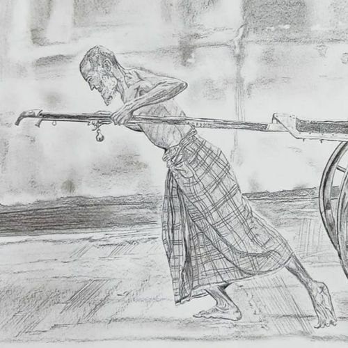 the breadwinner, 13 x 11 inch, jayati banerji,13x11inch,drawing paper,drawings,documentary drawings,figurative drawings,illustration drawings,impressionist drawings,photorealism drawings,realism drawings,paintings for dining room,paintings for living room,paintings for office,paintings for hotel,paintings for school,paintings for hospital,graphite pencil,GAL03093644857