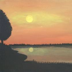 beautiful seaside sunset, 24 x 12 inch, shibani mehta,landscape paintings,paintings for living room,canvas,acrylic color,24x12inch,GAL012134487