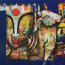 banaras ghat 4, 96 x 36 inch, anupam  pal,96x36inch,canvas,paintings,abstract paintings,buddha paintings,wildlife paintings,figurative paintings,flower paintings,modern art paintings,conceptual paintings,still life paintings,minimalist paintings,photorealism,portraiture,realism paintings,radha krishna paintings,contemporary paintings,realistic paintings,love paintings,horse paintings,mother teresa paintings,dog painting,water fountain paintings,baby paintings,children paintings,kids paintings,paintings for dining room,paintings for living room,paintings for bedroom,paintings for office,paintings for bathroom,paintings for kids room,paintings for hotel,paintings for kitchen,paintings for school,paintings for hospital,acrylic color,charcoal,mixed media,GAL08244886