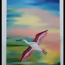 roseate spoonbill , 8 x 12 inch, varsha fulwani,8x12inch,brazilian paper,abstract paintings,wildlife paintings,portrait paintings,illustration paintings,portraiture,animal paintings,paintings for dining room,paintings for living room,paintings for bedroom,paintings for office,paintings for bathroom,paintings for kids room,paintings for hotel,paintings for kitchen,paintings for school,paintings for hospital,paintings for dining room,paintings for living room,paintings for bedroom,paintings for office,paintings for bathroom,paintings for kids room,paintings for hotel,paintings for kitchen,paintings for school,paintings for hospital,oil color,GAL02294944888