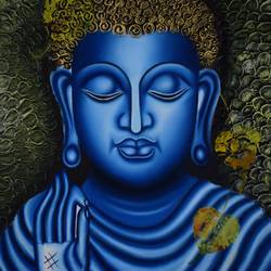 goutham buddha, 20 x 24 inch, padmaja vadlamani,buddha paintings,paintings for living room,canvas,oil,20x24inch,religious,peace,meditation,meditating,gautam,goutam,buddha,blue,blessing,GAL015254489