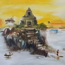 temple by lake 1, 22 x 16 inch, shikha gupta,22x16inch,canvas,paintings,abstract paintings,landscape paintings,modern art paintings,religious paintings,nature paintings | scenery paintings,impressionist paintings,contemporary paintings,paintings for dining room,paintings for living room,paintings for bedroom,paintings for office,paintings for hotel,paintings for kitchen,paintings for school,paintings for hospital,oil color,GAL02750344891
