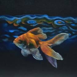 gold fish, 8 x 12 inch, saheli sinha,8x12inch,canvas,conceptual paintings,still life paintings,nature paintings | scenery paintings,contemporary paintings,realistic paintings,oil color,GAL02790644892