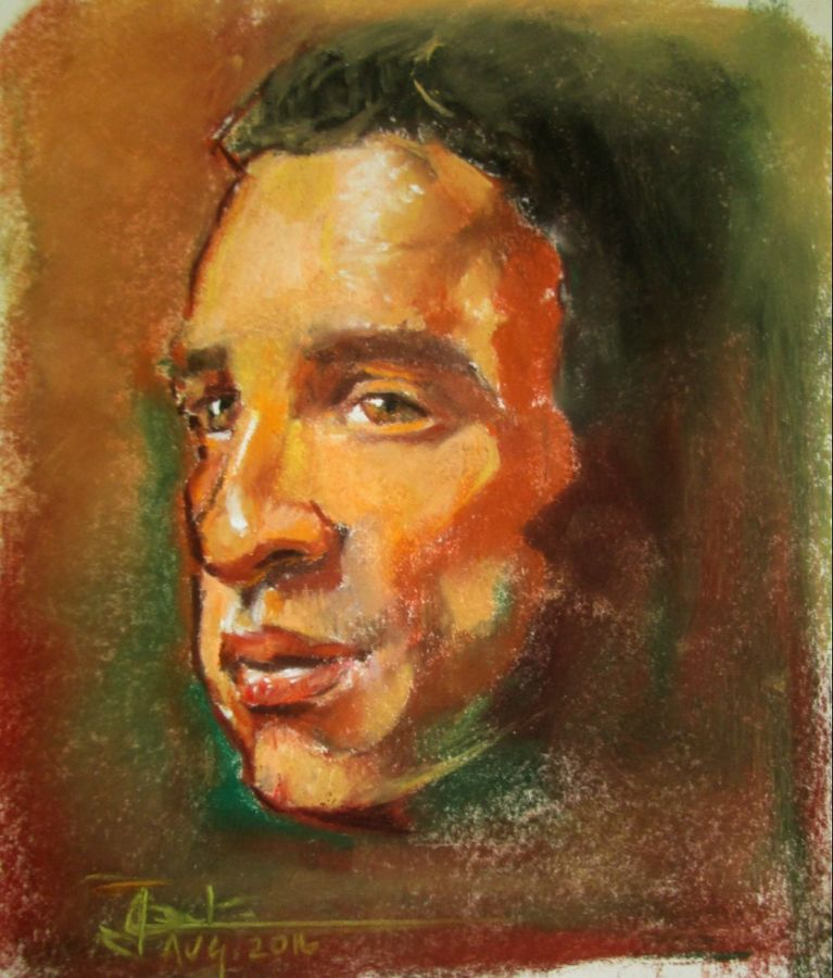man so kind, 8 x 7 inch, anna  jovita ,portrait paintings,paintings for office,thick paper,pastel color,8x7inch,GAL0238449