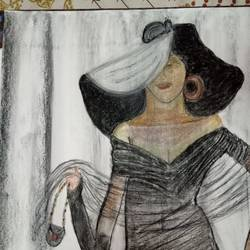 dolled up pic, 17 x 12 inch, chandana dey,17x12inch,fabriano sheet,paintings,modern art paintings,charcoal,GAL03054744908