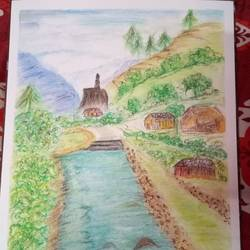scenario of kashmir, 12 x 17 inch, chandana dey,12x17inch,fabriano sheet,paintings,landscape paintings,charcoal,pastel color,GAL03054744909